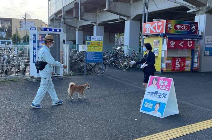 東大和駅前でご挨拶